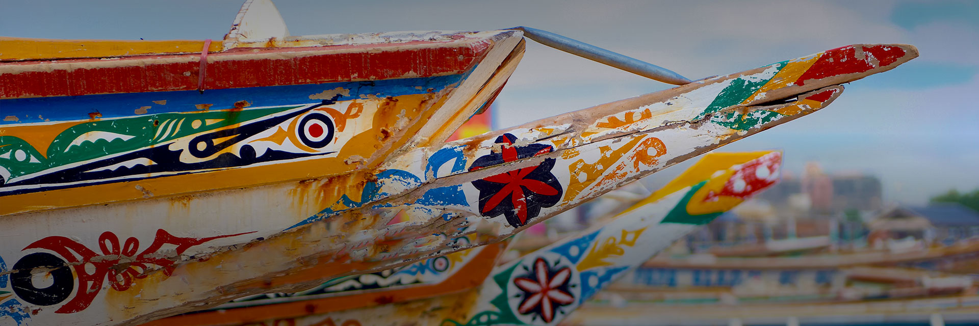 Close up image of a colorfully painted boat